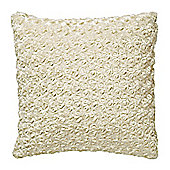 F&F Home Rose Faux Fur Cushion, Cream