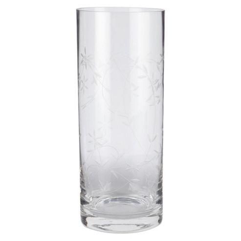 Tesco Glass Cylinder Vase Etched Flower