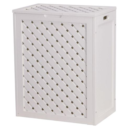 Buy Sheringham White Wood Wicker Weave Laundry Basket From