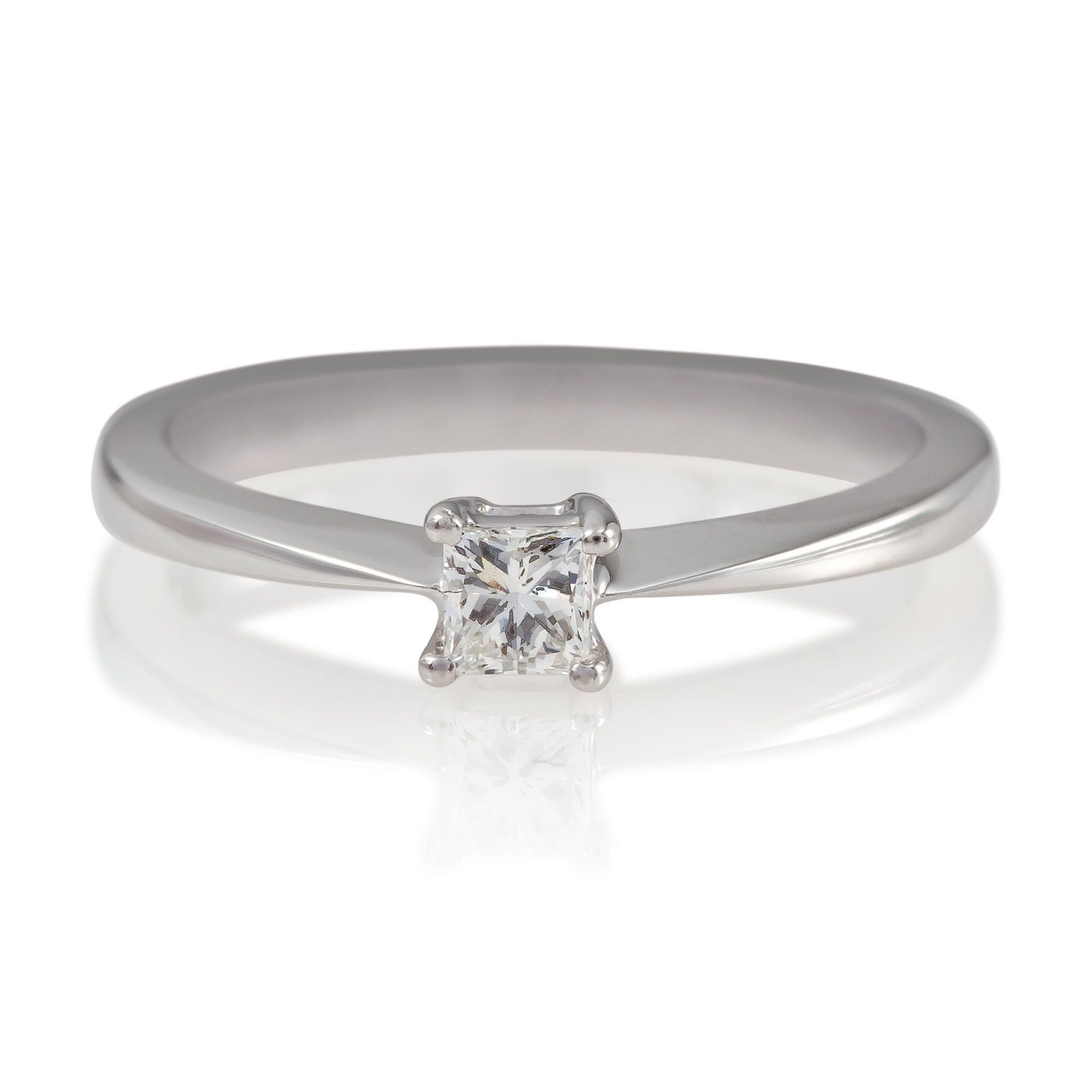 18ct White Gold 1/4ct Diamond Princess Cut Ring, N at Tesco Direct