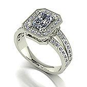 9ct White Gold 7x5 Radiant Moissanite Centre Ring