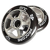 Pro Core 2 x 100mm CNC Alloy High-Bounce Scooter Wheels, Silver