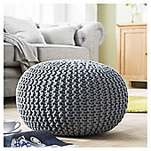 Light Weight Knitted Pouffe Grey