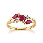 Gemondo Yellow 9ct Gold 0.57ct Ruby & Diamond Crossover Ring