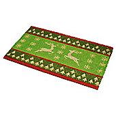 Tesco Green Reindeer PVC Coir Mat