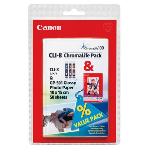 Canon Bundle CLI-8 (C/M/Y) Ink Tank + GP-501 (4x6) Paper Pack (50 Sheets)