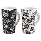 Tesco Black and White Floral Latte Mugs 4 pack