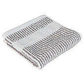 Tesco Grey Narrow Stripe  Face Cloth