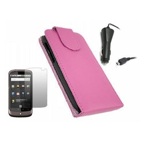 iTALKonline Pink Clip On Flip Case, LCD Screen Protector and Car Charger - For HTC Google Nexus One