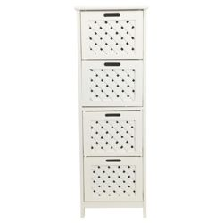 Sheringham White Wood 4 Drawer Tower Cabinet