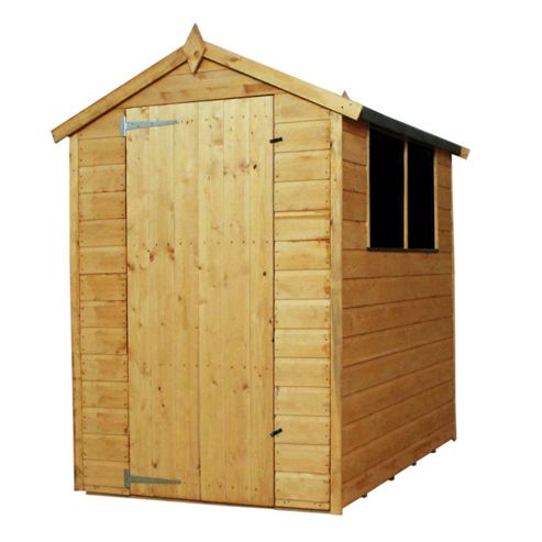 Mercia 6 x 4 Wooden Shiplap Shed, Apex Roof