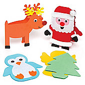 Festive Character Cards for Children to Make and Decorate for Christmas - Creative Xmas Craft Activity for Kids (Pack of 6)