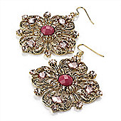Square Shape Jewelled Filigree Drop Earrings (Burn Gold & Pink) - 7cm Drop