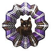 Iron Stop Designer Glitter Black Cat Wind Spinner 10in