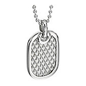 Mens Fred Bennett Textured Silver Dog Tag Necklace - 51cm