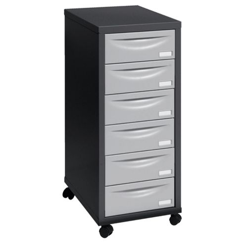 Pierre Henry A4 6 Drawer Filing Cabinet, Black With Grey Drawers