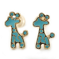 Children's/ Teen's / Kid's Small Light Blue Enamel 'Giraffe' Stud Earrings In Gold Plating - 10mm Length