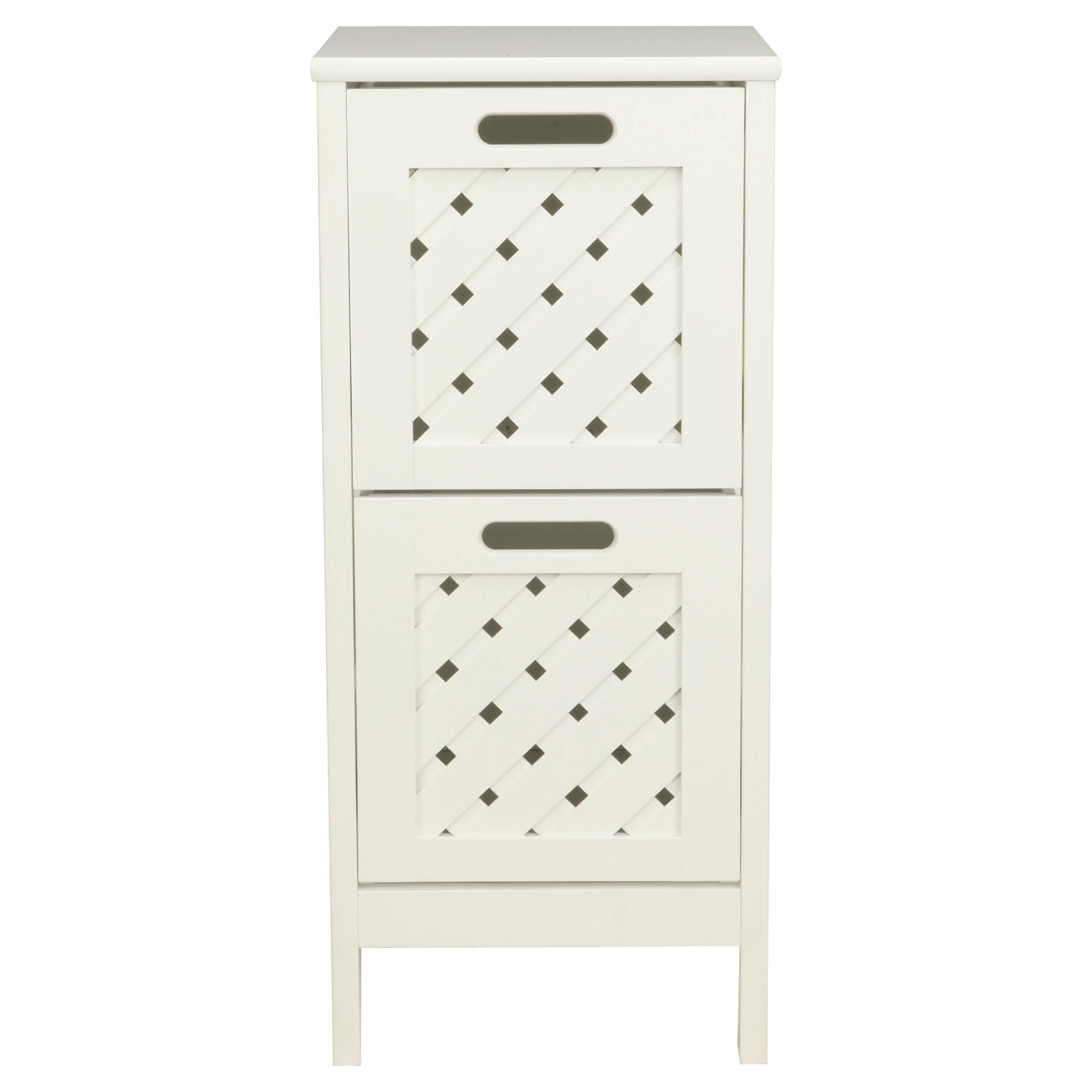 Sheringham white wood 2 drawer tower cabinet bathroom for Bathroom cabinets tesco
