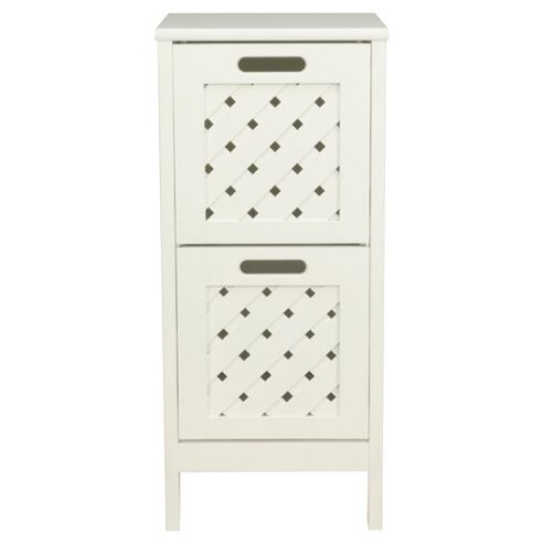 Sheringham Bathroom Tower Cabinet - 2 Drawer , White Wood