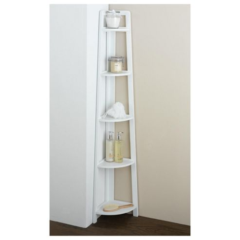 Buy sheringham white wood 5 tier corner shelving unit from - White bathroom corner shelf unit ...