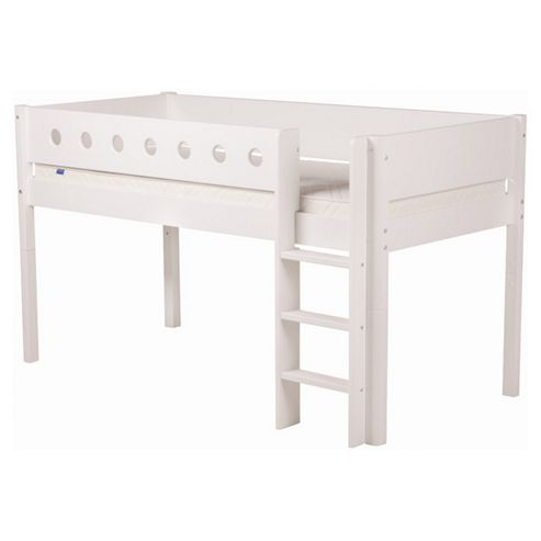 Flexa Classic Mid-High Bed with Straight Ladder - White