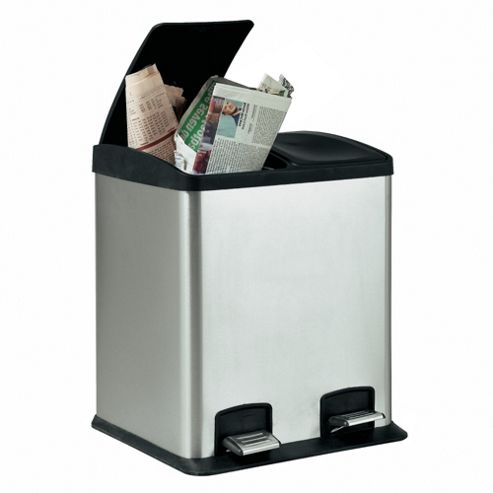 Tesco 24L Stainless Steel Rectangular Two Section Recycling Pedal Bin