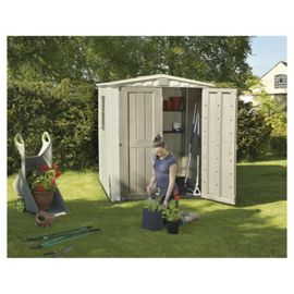 New boxed keter apex plastic garden shed 6x6ft our sale for Garden shed tesco