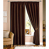 Dreams and Drapes Java 3 Pencil Pleat Lined Faux Silk Curtains (inc. t/b) 66x90 inches (168x228cm) - Chocolate
