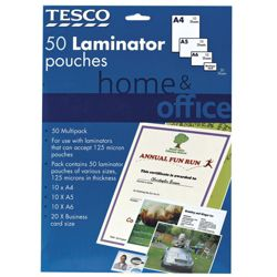 Tesco Home & Office Laminator Pouches 50 Pack- Mixed selection