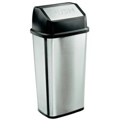 Tesco Stainless steel flip top bin 50L