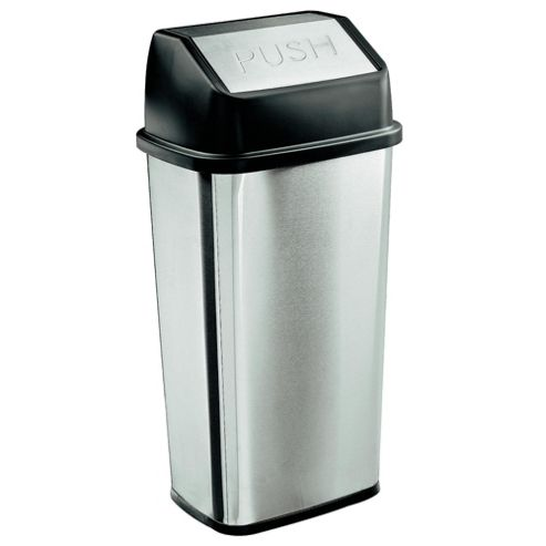 Tesco 50L Stainless Steel Rectangular Flip Top Open Bin