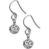 IT Diamonds Rhodium VENUS Diamond Scrolled Bead Drop Earrings