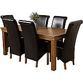 French Chateau Rustic Solid Oak 180 cm Dining Table with 6 Black Montana Leather Chairs