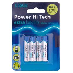 Tesco Hi Tech 4 Pack AAA batteries