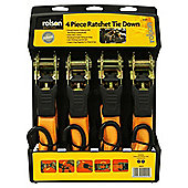 Rolson 4pc Ratchet Tie Down Set