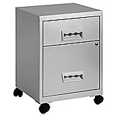 Pierre Henry A4 2 Drawer Combi Filing Cabinet With Castors, Silver