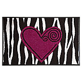 Wash & Dry by Kleen-Tex Wild Heart Flat Bordered Rug - 75cm x 50cm