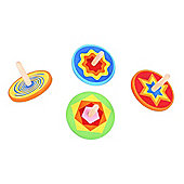 Bigjigs Toys BJ967 Snazzy Spinning Tops (Pack of 4)