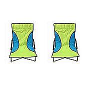 2 Green Nalu Folding Low Seat Beach Chairs