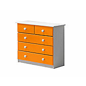 3 + 2 Chest of Drawers in White and Orange