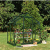 Halls 4x6 Popular Greenframe Greenhouse + Base - Toughened Glass