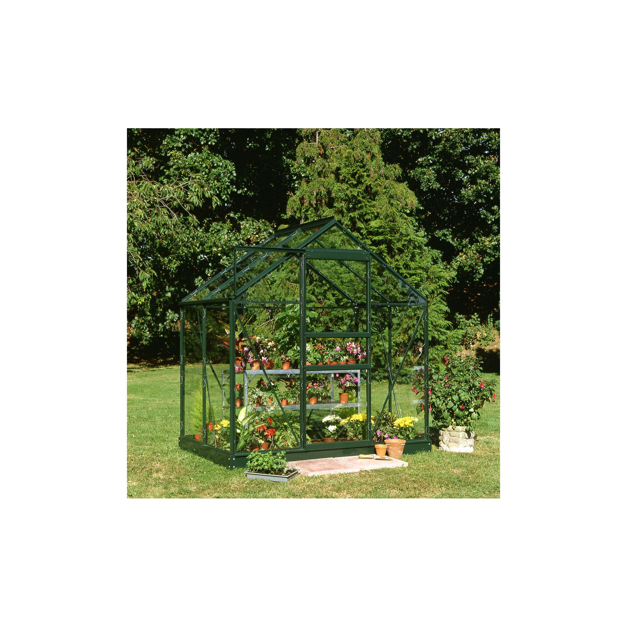 Halls 4x6 Popular Greenframe Greenhouse + Base - Toughened Glass at Tesco Direct