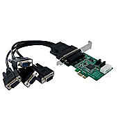 StarTech.com 4 Port Native PCI Express RS232 Serial Adapter Card with 16950 UART - Serial adapter - PCI Express - RS-232 - 4 ports