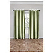 Faux Silk Lined Eyelet Curtains - Green - 66 X 54