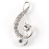 Silver Tone Crystal Music Treble Clef Brooch