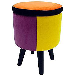 Soleil - Contemporary Round Storage Stool - Orange / Blue / Pink / Yellow