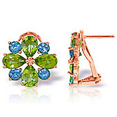 QP Jewellers Blue Topaz & Peridot Flower French Clip Earrings in 14K Rose Gold