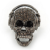 Dark Grey Crystal 'Skull Wearing Headphones' Flex Ring In Gun Metal - Adjustable - 3cm Length