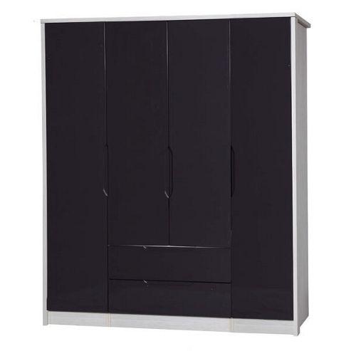Alto Furniture Avola 4 Door Combi and Singles Wardrobe - White Avola Carcass With Grey Gloss
