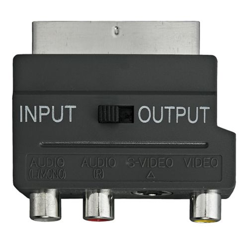 Tesco Value TC-711 Scart adapter connects AV cables to scart socket